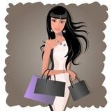 Kvinnashopping stock illustrationer