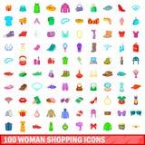 100 kvinnashoppingsymboler uppsättning, tecknad filmstil Arkivfoto