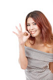Kvinnashowok, godkännande och att acceptera, positivt handtecken Royaltyfria Bilder