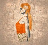 Kvinnasilhouette i klänning royaltyfri illustrationer