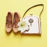 Kvinnaskor med handväskan och blomman Arkivbilder