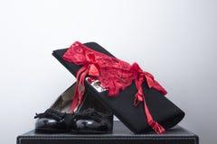 Kvinnaskounderbyxorar och handväska 4 Arkivbild