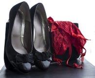 Kvinnaskounderbyxorar och handväska 5 Fotografering för Bildbyråer