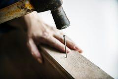 Kvinnasnickaren som använder att skjuta för hammare, spikar på ett trä Fotografering för Bildbyråer
