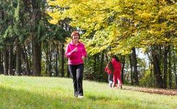 Kvinnaspring i skogen royaltyfri bild