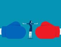 Kvinnastoppkonflikt eller stoppstridighet Begreppsaffärsillustrat vektor illustrationer