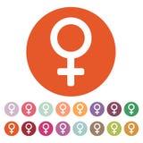 Kvinnasymbolen digitalt kvinnlig frambragt bildsymbol plant Arkivfoton