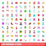 100 kvinnasymboler uppsättning, tecknad filmstil Fotografering för Bildbyråer