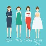 Kvinnatecken - uppsättningen i olik kläder utformar royaltyfri foto