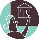 Kvinnateckningsbild av huset Vektor Illustrationer