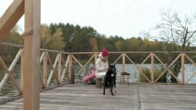Kvinnaturisten sitter på bron nära floden, matar hunden utomhus- aktiviteter och en sund livsstil i sommaren stock video