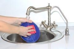 Kvinnatvagningdisk i vasken Hon har en rengörande svamp i hennes hand royaltyfri foto