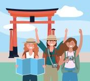 Kvinnavänner med ryggsäcken och den globala översikten till tokyo skulptur vektor illustrationer
