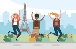 Kvinnavänner som hoppar med ryggsäcken för att resa i Eiffeltorn royaltyfri illustrationer