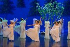 Kvinnavävaren- agerar först: `en för prinsessa för ` för drama för mullbärsträdträdgård-epos dans den siden-, arkivbilder