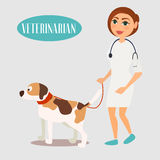Kvinnaveterinär med en hund Behandling av djur också vektor för coreldrawillustration stock illustrationer