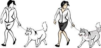 Kvinnavisninghundkapplöpning på showen Stock Illustrationer