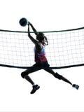 Kvinnavolleybollspelare isolerade konturn Royaltyfri Bild
