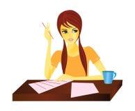 kvinnaworking vektor illustrationer