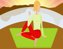 kvinnayoga stock illustrationer