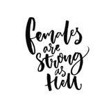 Kvinnlig är starka som helvete Inspirerande feminismcitationstecken, handskrivet säga för vektor Feministisk slogan stock illustrationer