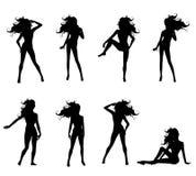 kvinnlig 2 poserar sexiga silhouettes Arkivfoton