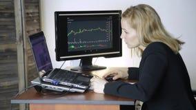 Kvinnlig affärsman som i regeringsställning arbetar på bärbara datorn Arbete på en crypto börs diagram för valutautbyte på datore arkivfilmer