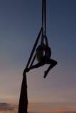 Kvinnlig akrobat i luften på hängmattan Fotografering för Bildbyråer