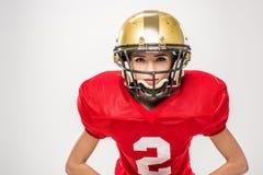 Kvinnlig amerikansk fotbollsspelare Arkivfoto