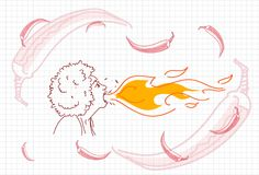 Kvinnlig andningbrand, varma Chili Pepper Concept Sketch vektor illustrationer