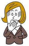 Kvinnlig anställd i en dräkt får otålig, en snedsteg av tungan stock illustrationer