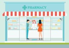 Kvinnlig apotekare på räknaren i ett apotek royaltyfri illustrationer