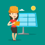 Kvinnlig arbetare av solenergiväxten stock illustrationer