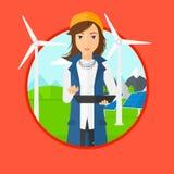 Kvinnlig arbetare av solenergiväxten och vindlantgården stock illustrationer