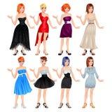 Kvinnlig avatar med klänningar och skor Arkivbild