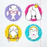 Kvinnlig avataruppsättning Arkivfoto
