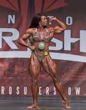 Kvinnlig bodybuildingmästare på Toronto 2018 pro-Supershow Royaltyfria Foton