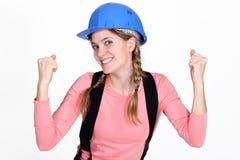 Kvinnlig byggnadsarbetare Arkivfoton