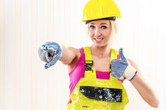 Kvinnlig byggnadsarbetare Fotografering för Bildbyråer