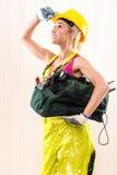 Kvinnlig byggnadsarbetare Royaltyfria Foton