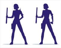 Kvinnlig byggnadsarbetare Konstruktion stock illustrationer