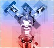 Kvinnlig cyborg i illustration för collagestil 3d Royaltyfri Foto