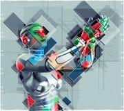 Kvinnlig cyborg i illustration för collagestil 3d Arkivbild