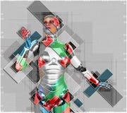 Kvinnlig cyborg i illustration för collagestil 3d Royaltyfria Foton