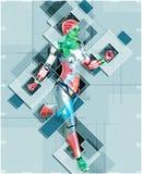 Kvinnlig cyborg i illustration för collagestil 3d Arkivfoto