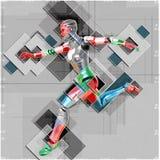 Kvinnlig cyborg i illustration för collagestil 3d Arkivfoton