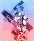 Kvinnlig cyborg i illustration för collagestil 3d Royaltyfria Bilder