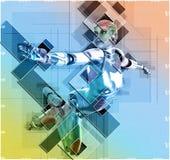 Kvinnlig cyborg i illustration för collagestil 3d Royaltyfri Fotografi