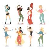 Kvinnlig dansareuppsättning royaltyfri illustrationer