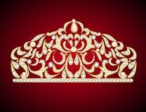 Kvinnlig dekorativ tiarakrona med juvlar stock illustrationer